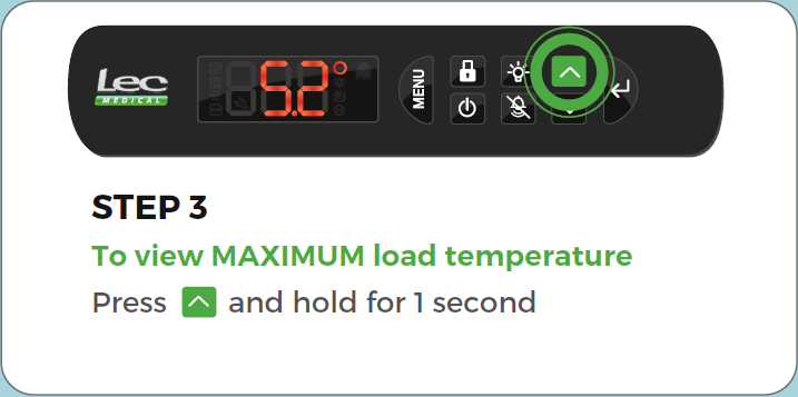 Advanced Controller Record Load/Vaccine temperature step 3