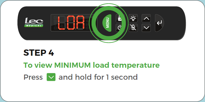 Advanced Controller Record Load/Vaccine temperature step 4