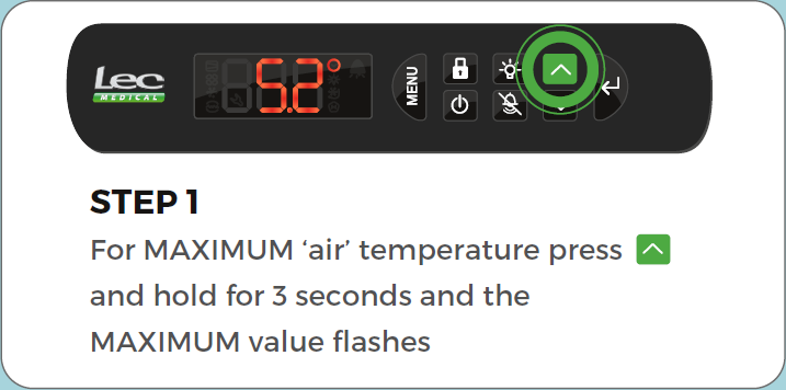Advanced Controller View min/max air temperature step 1